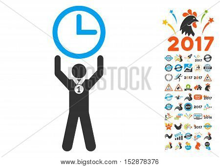 Time Champion pictograph with bonus 2017 new year graphic icons. Vector illustration style is flat iconic symbols, modern colors, rounded edges.