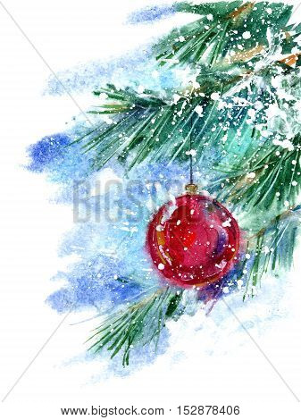 Christmas tree and toy. Pine branch and snowflakes.Watercolor hand drawn illustration. White background.