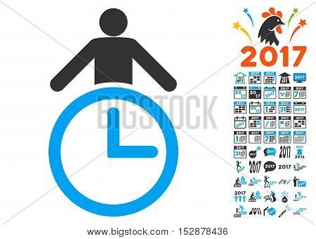 Time Manager icon with bonus 2017 new year graphic icons. Vector illustration style is flat iconic symbols, modern colors, rounded edges.