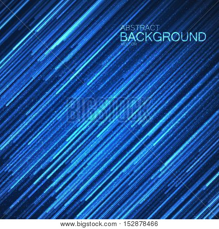 Abstract blue background with glowing random lines and sparkles. Vector illustration. Cover, poster, flyer, banner and placard design template