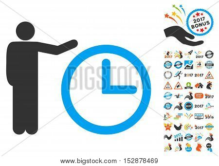 Time Show pictograph with bonus 2017 new year pictures. Vector illustration style is flat iconic symbols, modern colors, rounded edges.