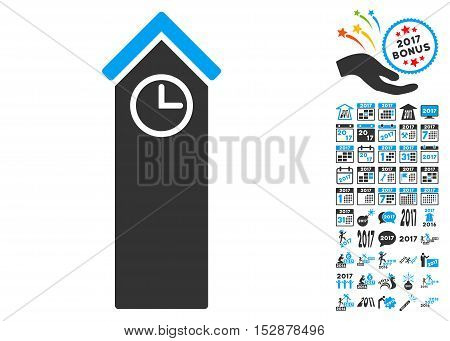 Time Tower pictograph with bonus 2017 new year graphic icons. Vector illustration style is flat iconic symbols, modern colors, rounded edges.