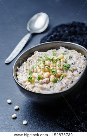 Cashew cream rice stew with white beans and wild rice.