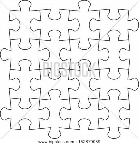 Vector jigsaw puzzle blank template of a simple 4x4. White with a ...