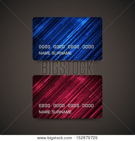 Credit Cards With Abstract Digital Shiny Lines And Particles. Vector Illustration. Gift Or Credit Business Card Design Template