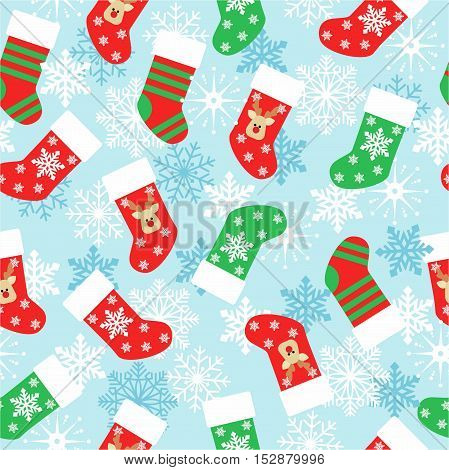 Christmas stockings seamless pattern on a blue background