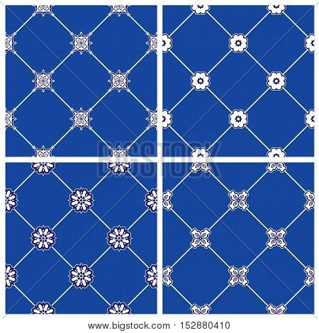 Set of seamless patterns - blue and white ceramic tiles with floral ornament - wall Vintage Background Collection