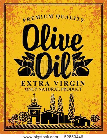 vector label for olive oil and Italian countryside landscape