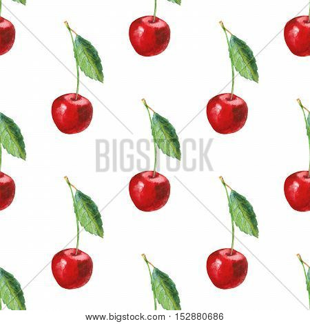 Seamless pattern with cherry.Food picture.Watercolor hand drawn illustration.