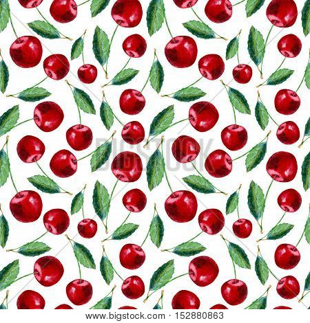 Seamless pattern with cherry.Food picture.Watercolor hand drawn illustration.White background.
