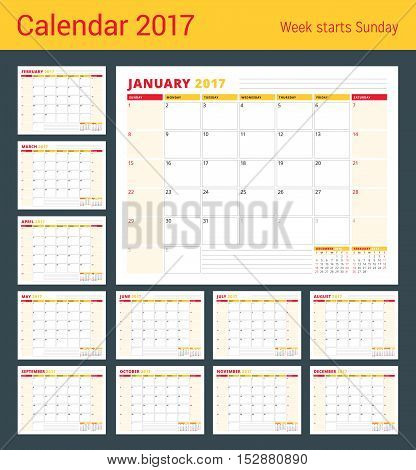Calendar Planner Template for 2017 Year. Set of 12 Months. Stationery Design. Week starts Sunday. 3 Months on Page. Vector Illustration
