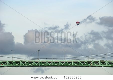 Bridge and hot air balloon, transportation background