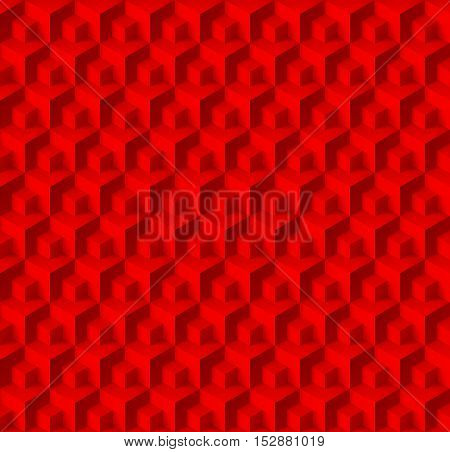 Abstract geometric background with cubes in red color