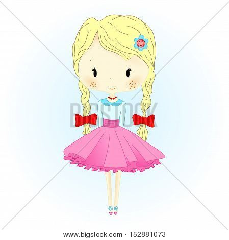 Doll Vector Illustration. Beautiful Golden Hair Puppet with red Bows. Little Girl on white background