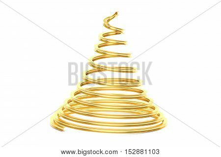 Golden Christmas Tree 3D rendering isolated on white background