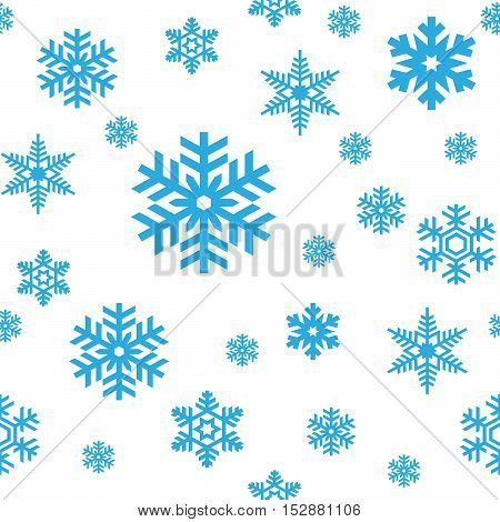 Seamless pattern of sky blue snowflakes on white background. Snowfall stylized wrapping texture. Winter repeating backdrop. Falling snow vector illustration in eps8.
