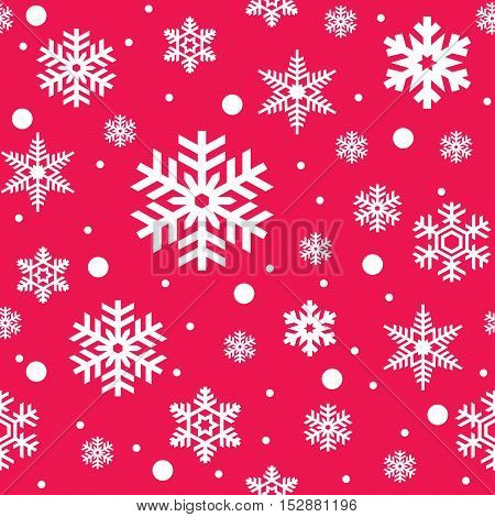 Seamless pattern of white snowflakes on pink background. Snowfall stylized wrapping texture. Winter repeating backdrop. Falling snow vector illustration in eps8.
