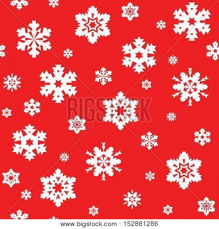 Seamless pattern of white snowflakes on red background. Snowfall stylized wrapping texture. Winter repeating backdrop. Falling snow vector illustration in eps8.