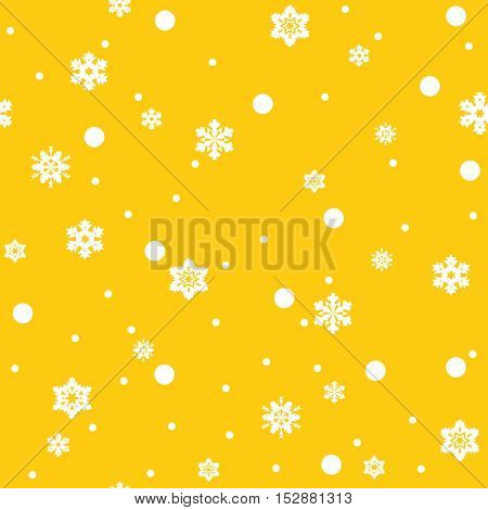 Seamless pattern of white snowflakes on yellow background. Snowfall stylized wrapping texture. Winter repeating backdrop. Falling snow vector illustration in eps8.