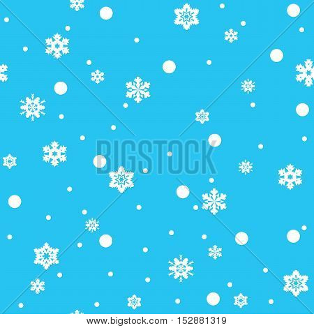 Seamless pattern of white snowflakes on sky blue background. Snowfall stylized wrapping texture. Winter repeating backdrop. Falling snow vector illustration in eps8.