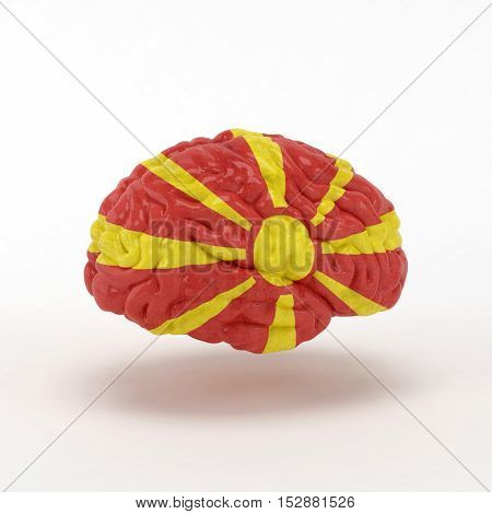 Macedonia. Flag on Human brain. 3D illustration.