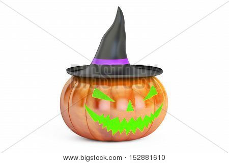 Halloween Pumpkin in Witch Hat 3D rendering isolated on white background