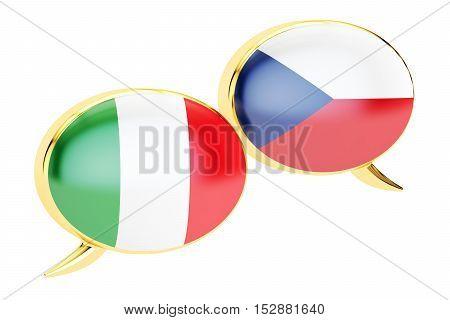 Speech bubbles Czech-Italian conversation concept. 3D rendering