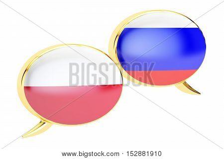 Speech bubbles Polish-Russian translation concept. 3D rendering