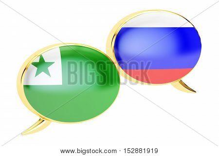 Speech bubbles Russian-Esperanto conversation concept. 3D rendering