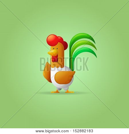 Cock. New Year 2017. Year of the Rooster. Flat cartoon. Vector illustration.