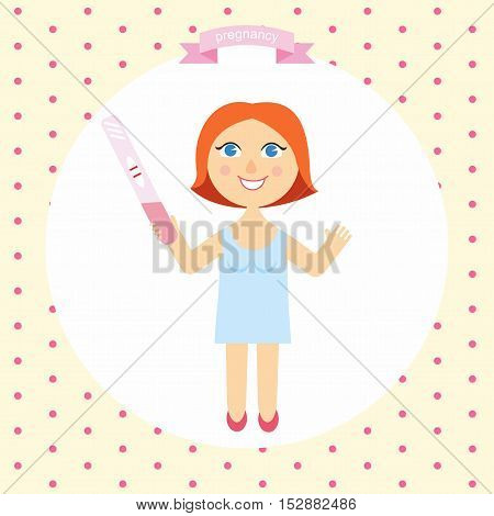 illustration of happy pregnant woman cartoon with a positive pregnancy test in hand. series pregnancy