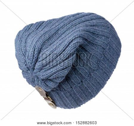 Knitted Hat Isolated On White Background .blue Hat