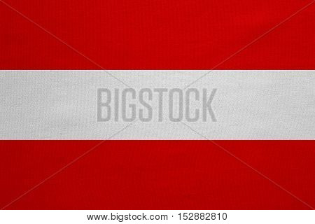 Austrian national official flag. Patriotic symbol banner element background. Correct colors. Flag of Austria with real detailed fabric texture accurate size illustration