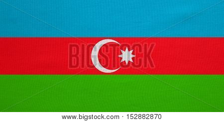 Azerbaijani national official flag. Patriotic symbol banner element background. Correct colors. Flag of Azerbaijan with real detailed fabric texture accurate size illustration