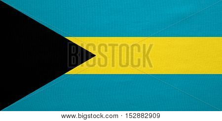 Bahamian national official flag. Patriotic symbol banner element background. Correct colors. Flag of Bahamas with real detailed fabric texture accurate size illustration