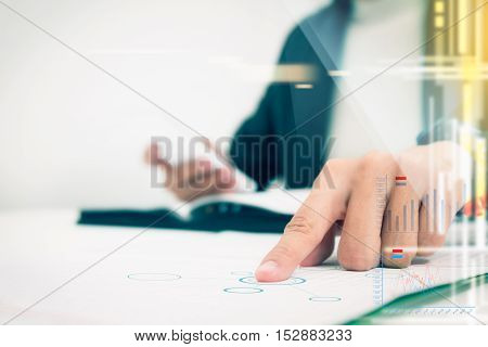 Businesswoman Holding Mobile Phone About Research Data On Internet For Discuss Business Planning Mar