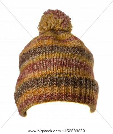 Knitted Hat Isolated On White Background .hat With Pompon