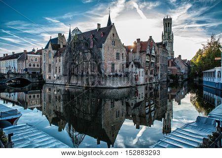 old town view panorama water tourism belgium
