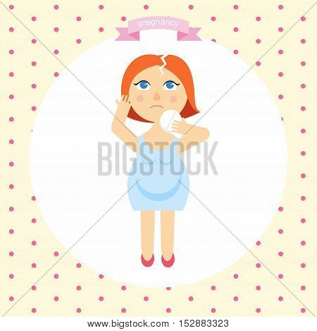 illustration of a pregnant woman cartoon with a headache. symptoms of pregnancy