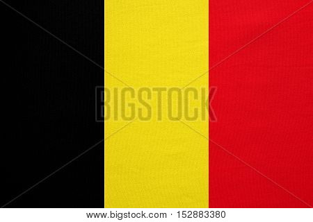 Belgian national official flag. Patriotic symbol banner element background. Correct colors. Flag of Belgium with real detailed fabric texture accurate size illustration
