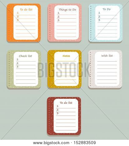 The sheets of the planner in a cute polka dots. Diary.To Do List. Vector illustration.