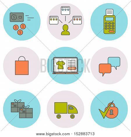 E-commerce line icons set. Online shopping web elements. Round icons.