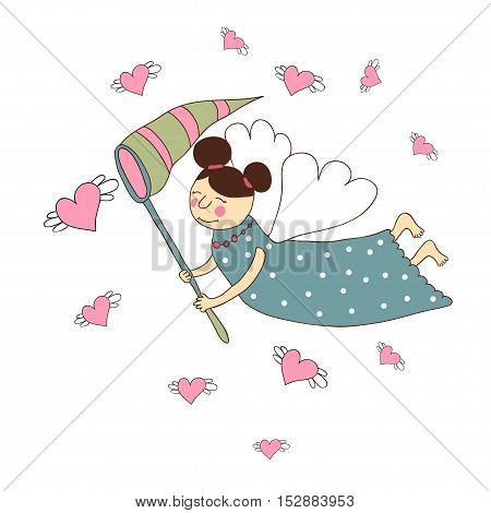 Cute cartoon angel who catches a net for butterflies to fly hearts on a white background.