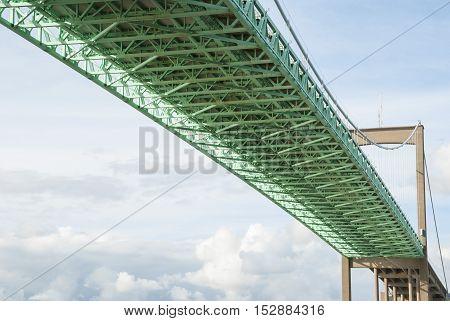 Under the suspension bridge with green framework