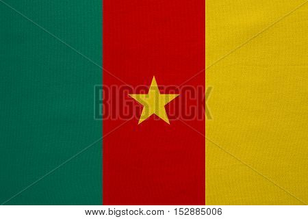 Cameroonian national official flag. African patriotic symbol banner element background. Correct colors. Flag of Cameroon with real detailed fabric texture accurate size illustration