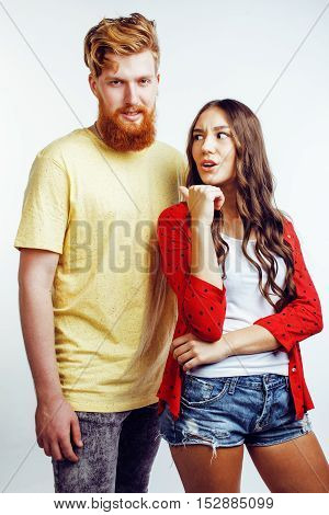 young attractive couple together having fun happy smiling isolated on white background, emotional posing, lifestyle people concept close up