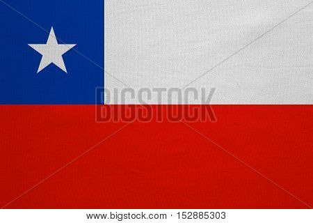 Chilean national official flag. Patriotic symbol banner element background. Correct colors. Flag of Chile with real detailed fabric texture accurate size illustration