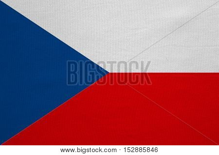 Czech national official flag. Patriotic symbol banner element background. Correct colors. Flag of Czech Republic with real detailed fabric texture accurate size illustration