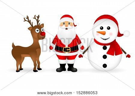 Santa Claus with reindeer and a snowman standing on a white background, vector illustration