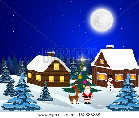 Night christmas forest landscape. Santa Claus with reindeer and a snowman in the village near the Christmas tree